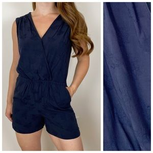 LOFT Navy Floral Romper Shorts With Pockets SP